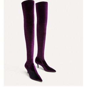 ZARA Aubergine Over the Knee Boots SZ 7.5 (38)